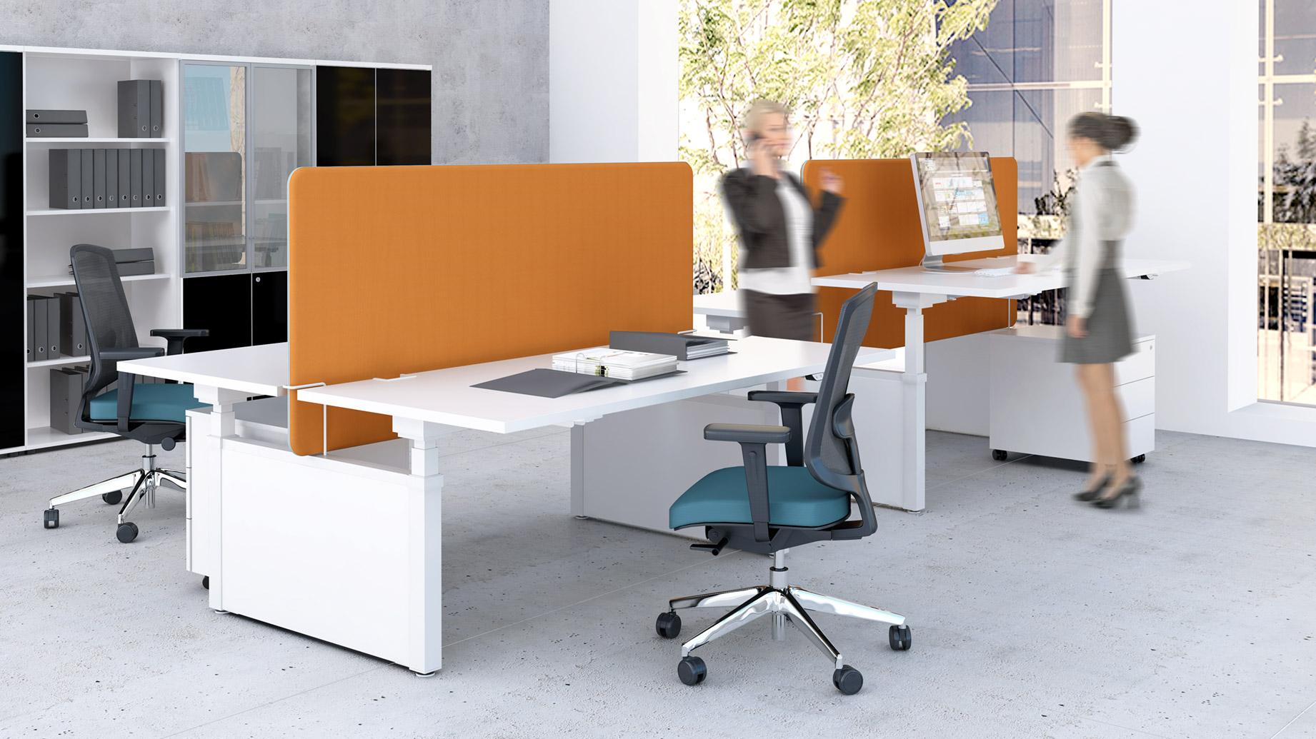 stock b roeinrichtungen h henverstellbare schreibtische mit auftischw nden. Black Bedroom Furniture Sets. Home Design Ideas