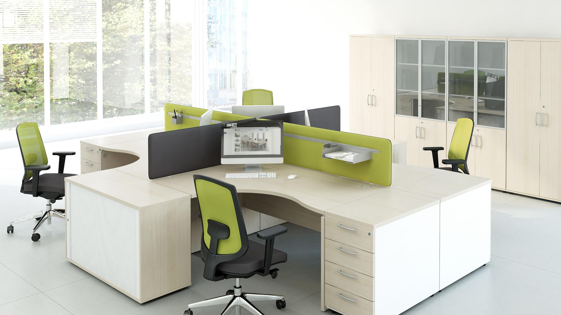 STOCK Büroeinrichtungen - Klassische Schreibtisch-Inseln mit und ...